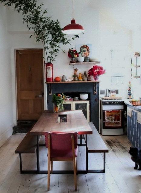 Porcelain Barn Light In Cherry Red Pops In The Kitchen
