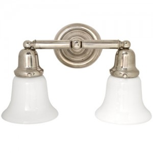 Vintage wall sconces add elegance to bold blue bathroom blog at 10 high and 14 wide this bathroom light features a polished chrome finish and frosted glass if you prefer a single fixture to mount aloadofball Choice Image