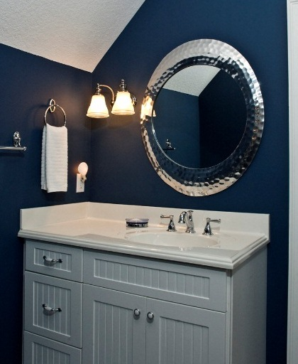 Vintage Wall Sconces Bathroom : Vintage Wall Sconces Add Elegance to Bold, Blue Bathroom Blog BarnLightElectric.com