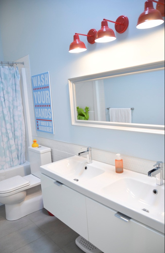 Barn Wall Sconces Add Splash Of Color To Boys Bathroom