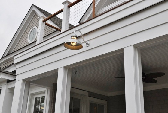 Barn lights beautify new coastal ct home inside and out blog they chose a mix of barn lights warehouse shades rustic pendants goosenecks and rustic sconces all american made for both inside and out workwithnaturefo