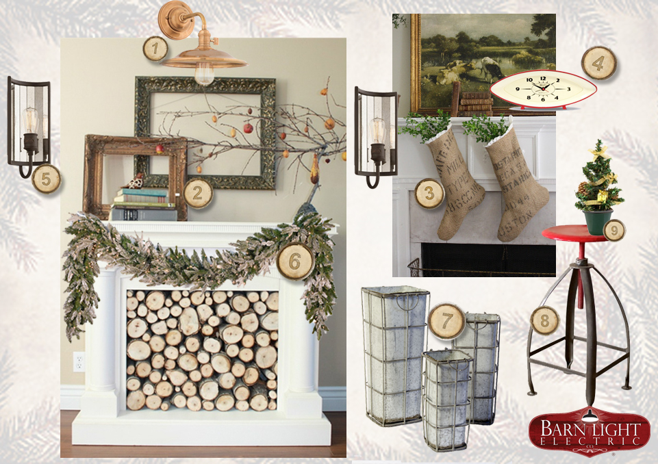 Christmas Fireplace u0026 Mantel Decor Ideas : Blog : BarnLightElectric.com