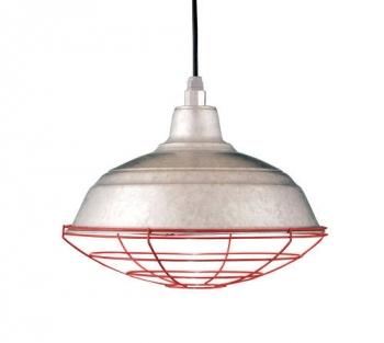 Galvanized pendants lend industrial style to commercial lighting area or go with a stem mount if you plan to install your pendants in damp conditions such as a porch the addition of the red wire cage on these lights aloadofball Image collections