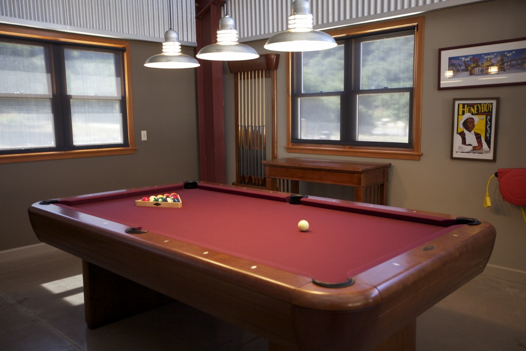 Galvanized Barn Pendants Shine On Family Pool Table Fun Blog - How much space do you need for a pool table