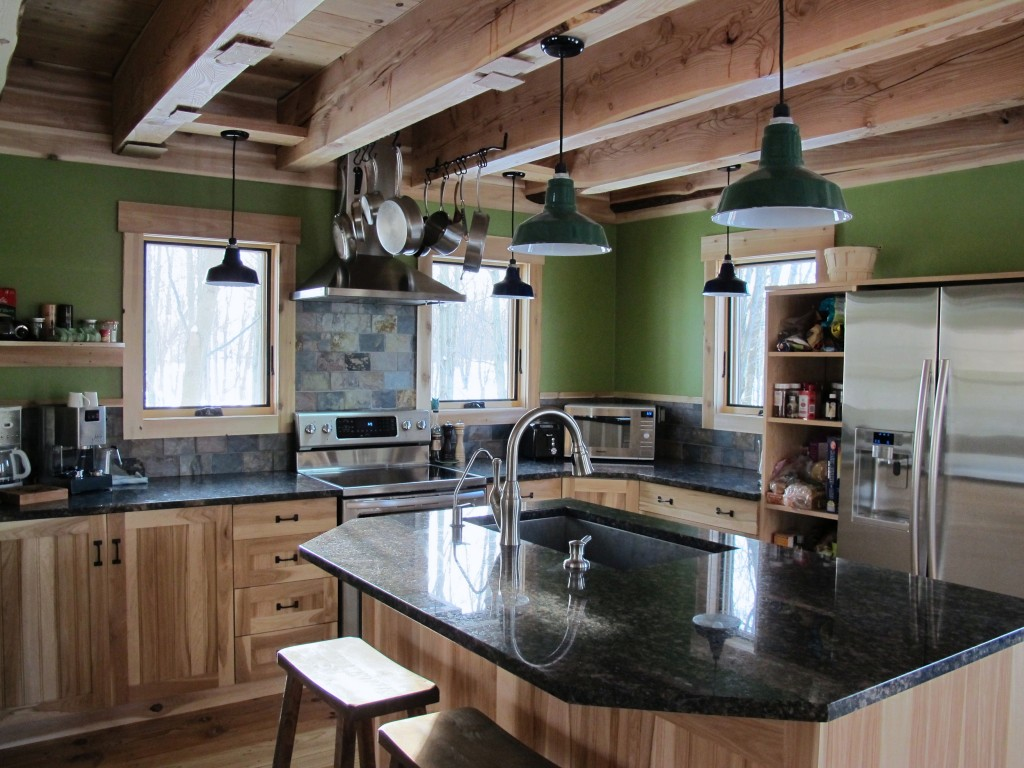 Porcelain Enamel Lighting Gives New Green Home a Rustic Look