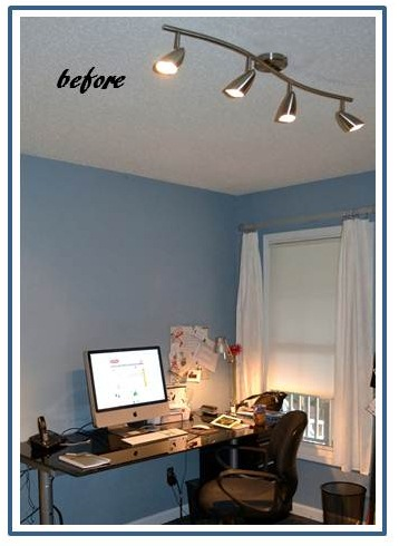 porcelain led fixture brings warm, bright light to home office