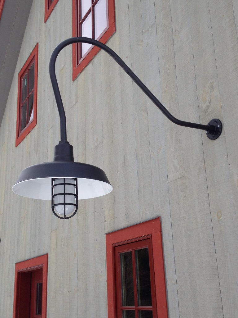 Old fashioned barn lights tyres2c clic gooseneck lights lend barn style to new vermont home blog aloadofball Gallery