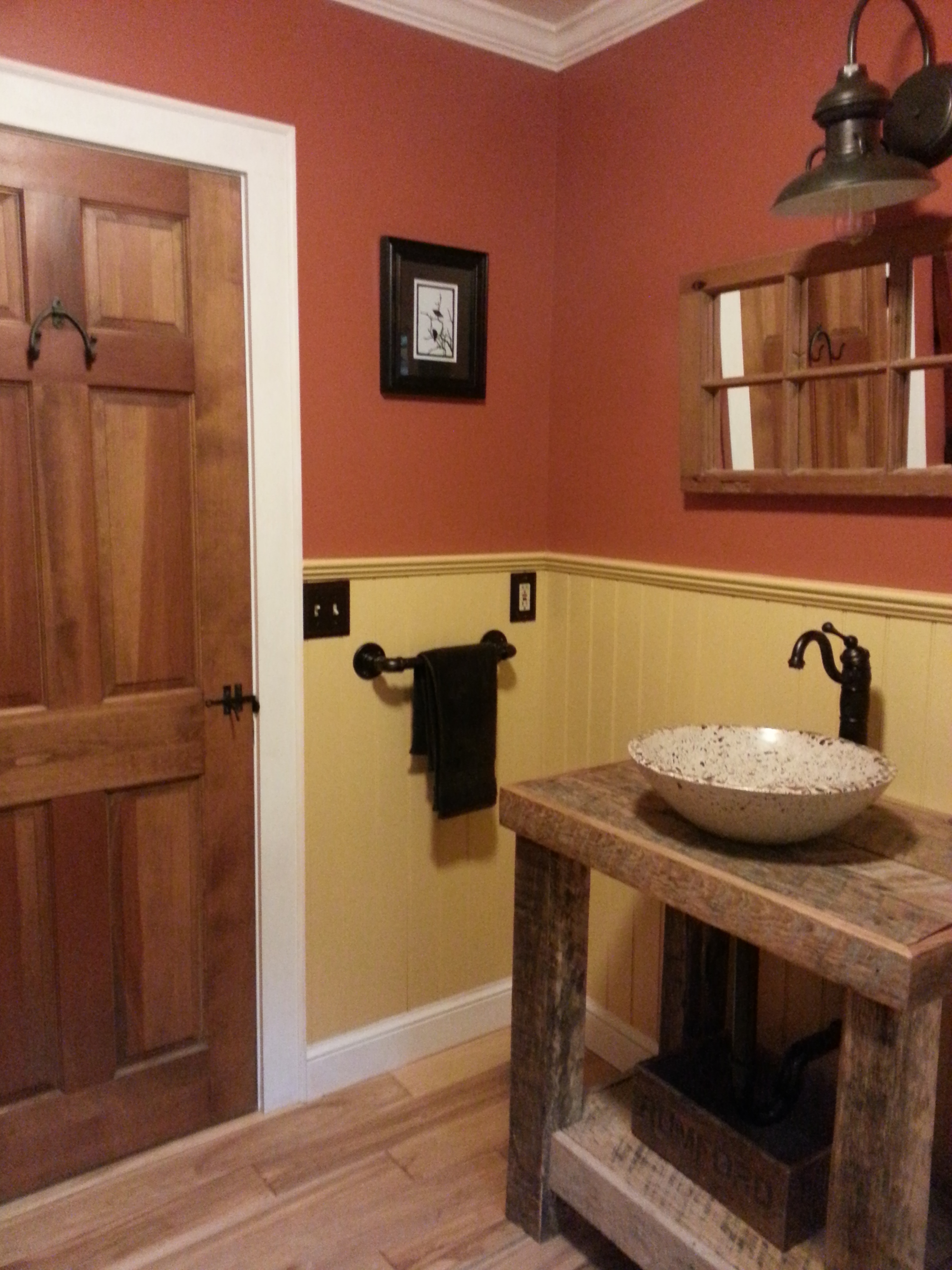 Barn Wall Sconce Adds A Touch Of Country To Bathroom