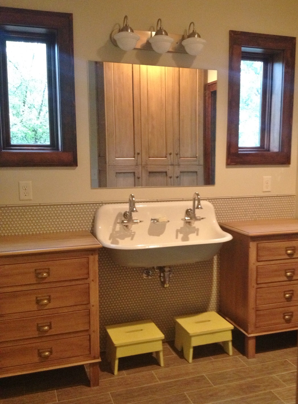 bathroom lighting over vanity. Featured Customer | Vintage Vanity Lights Add Retro Spin To Kids\u0027 Bath Remodel Bathroom Lighting Over R