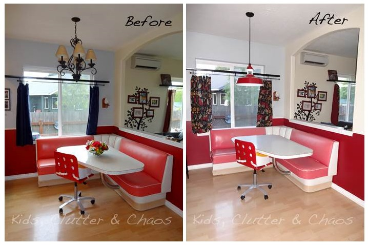 Featured Customer Red Pendant Ties In With 1950s Diner Style Table