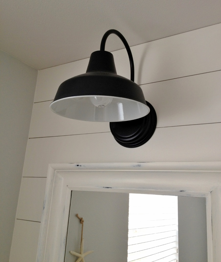 Barn Light Bathroom Vanity: Barn Wall Sconce Lends Farmhouse Look To Powder Room