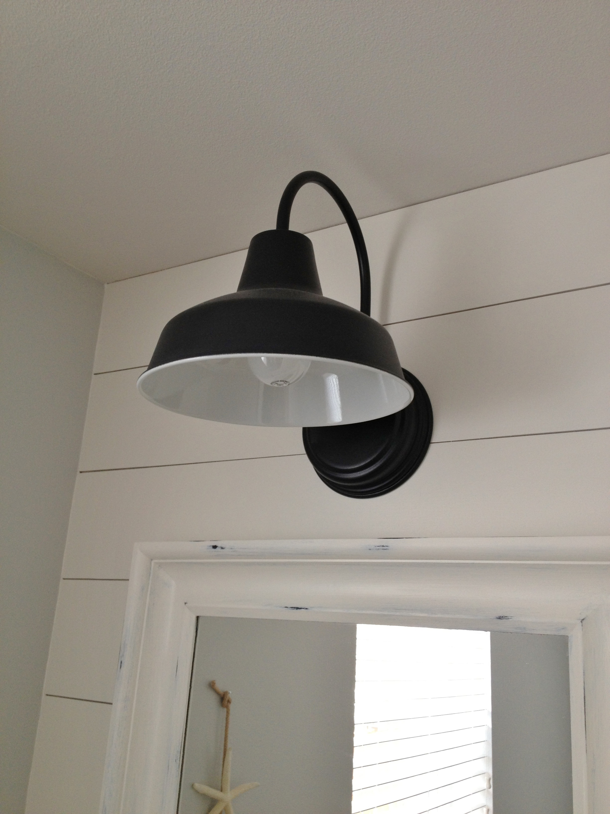 featured customer barn wall sconce lends farmhouse look to powder room remake - Double Sconce Bathroom Lighting