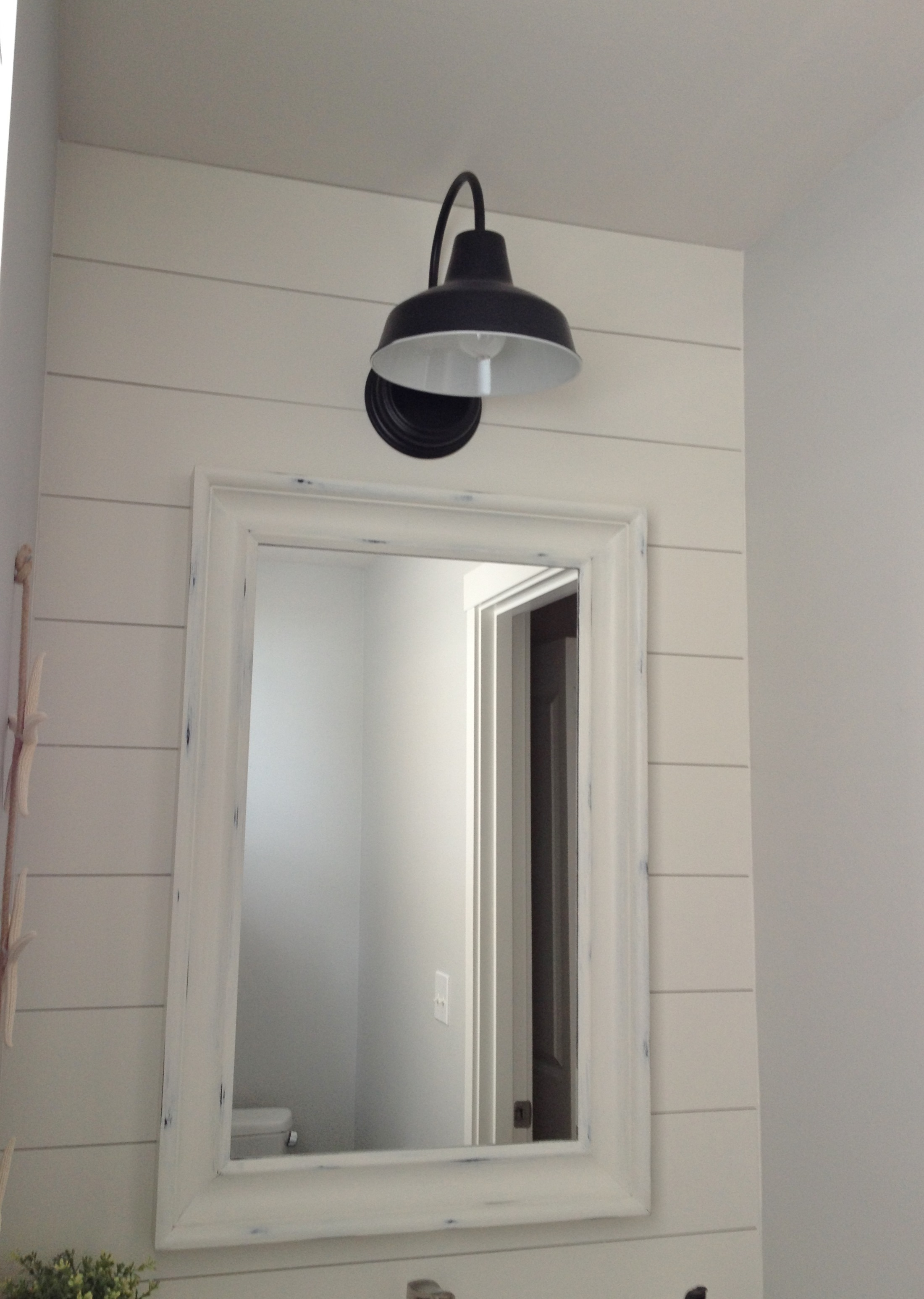 Barn wall sconce lends farmhouse look to powder room remake blog featured customer barn wall sconce lends farmhouse look to powder room remake amipublicfo Images