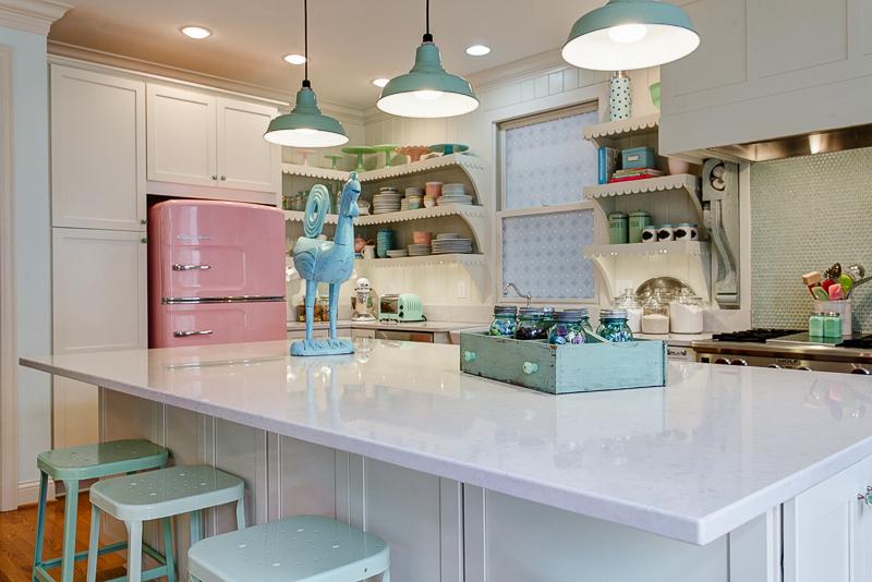 porcelain enamel pendants win big in victorian kitchen