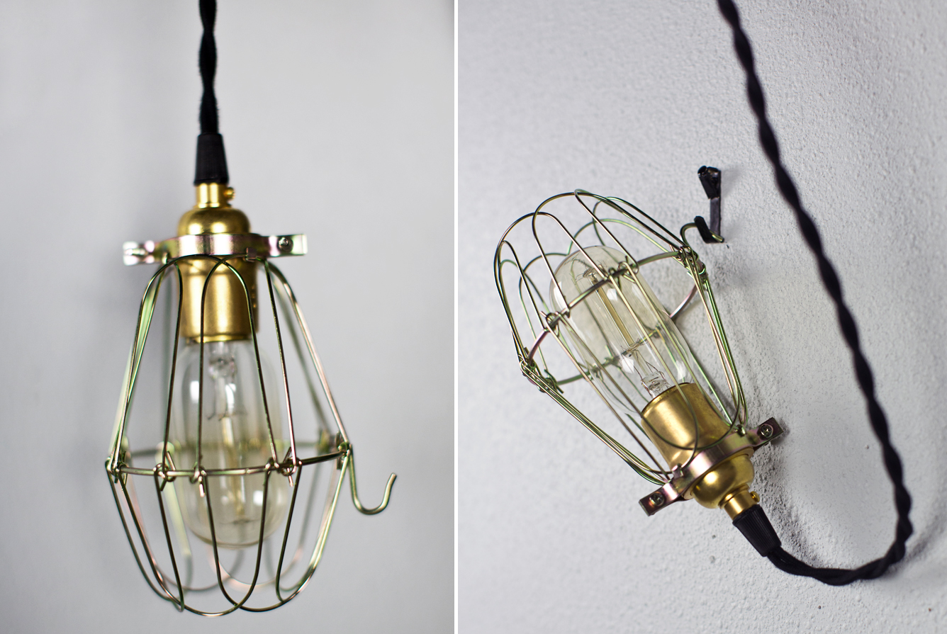 Hanging Brass Cage Light
