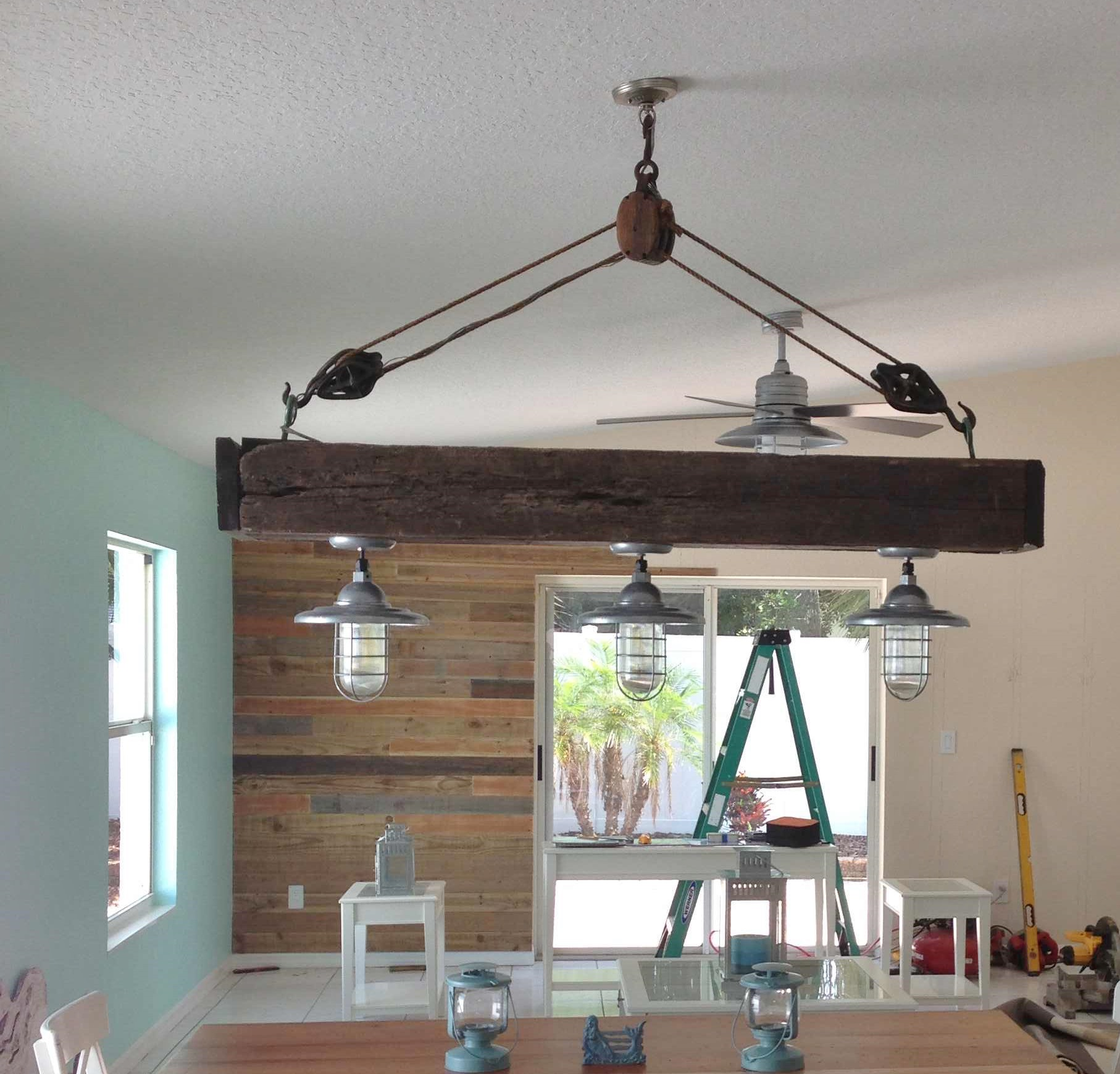 Barn Type Light Fixtures: Atomic Pendants Flavor Remodeled Beach Home With Nautical