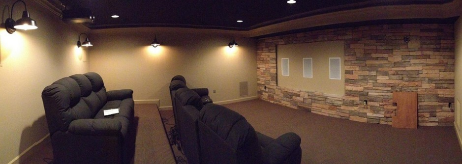 Superior Basement Wall Sconces Part - 11: Featured Customer | Barn Wall Sconces Add Dramatic Glow To Home Theater