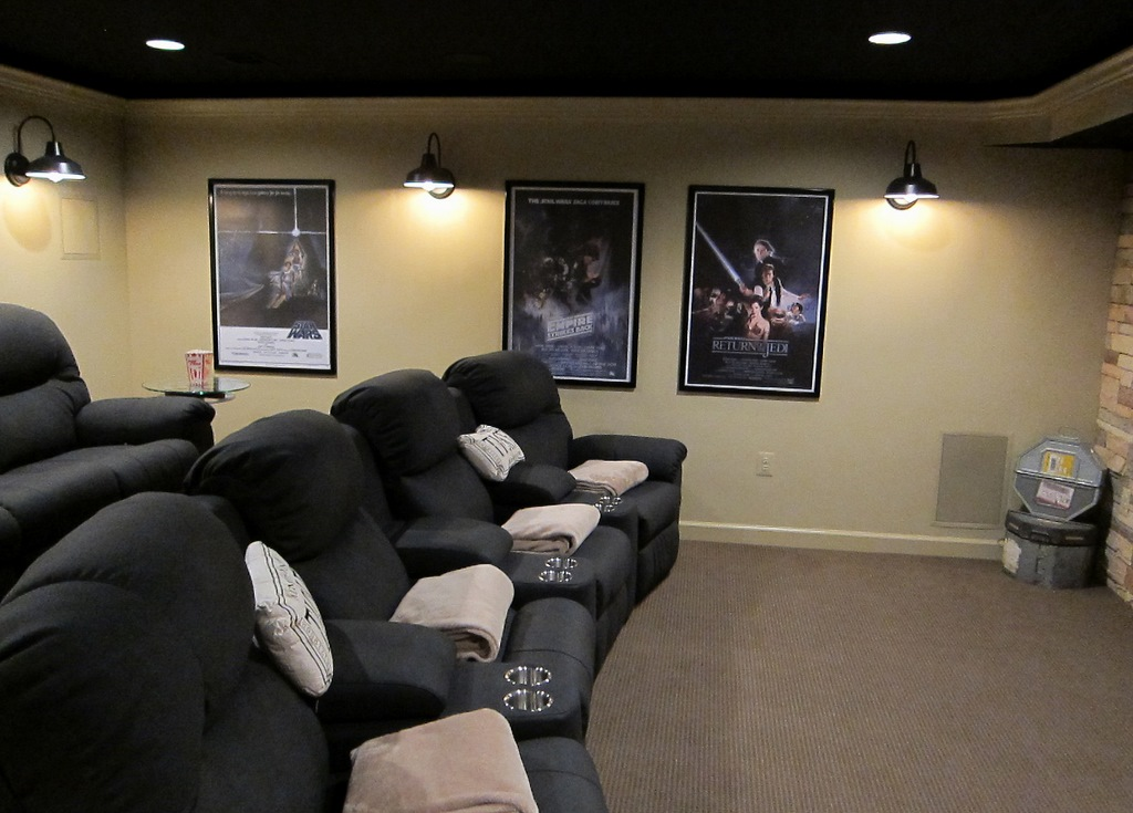 Wall Sconces Home Theater : Barn Wall Sconces Add Dramatic Glow to Family s Home Theater Blog BarnLightElectric.com