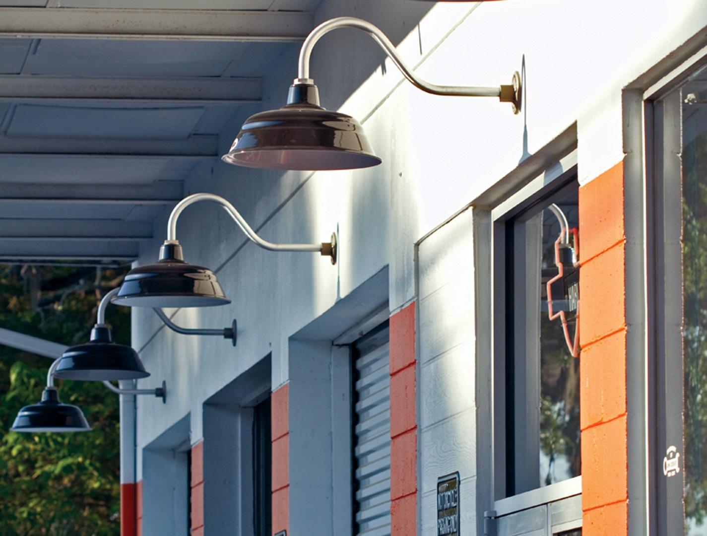 Porcelain enamel lends rugged style to commercial lighting blog for Commercial exterior gooseneck light fixtures