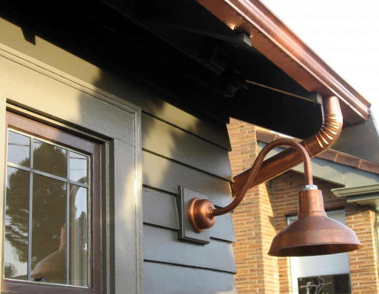 Gooseneck outdoor lights democraciaejustica copper gooseneck lighting for 1920s craftsman style home aloadofball Gallery