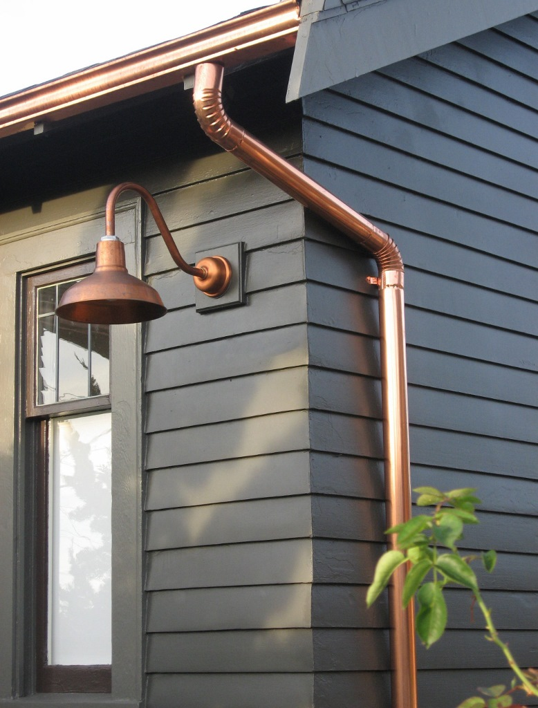 Copper gooseneck lighting for 1920s craftsman style home for Craftsman style garage lights