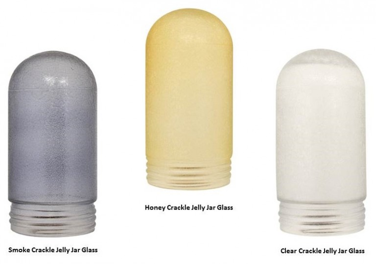 our newest jelly jar feature crackle glass available in smoke honey and clear crackle consider adding a colored light bulb to any of these