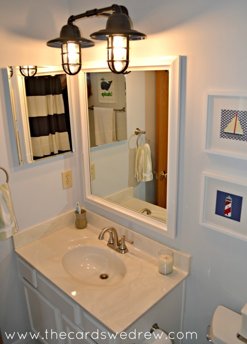 Rustic Wall Sconces Add Nautical Splash to Bathroom Makeover Blog BarnLightElectric.com
