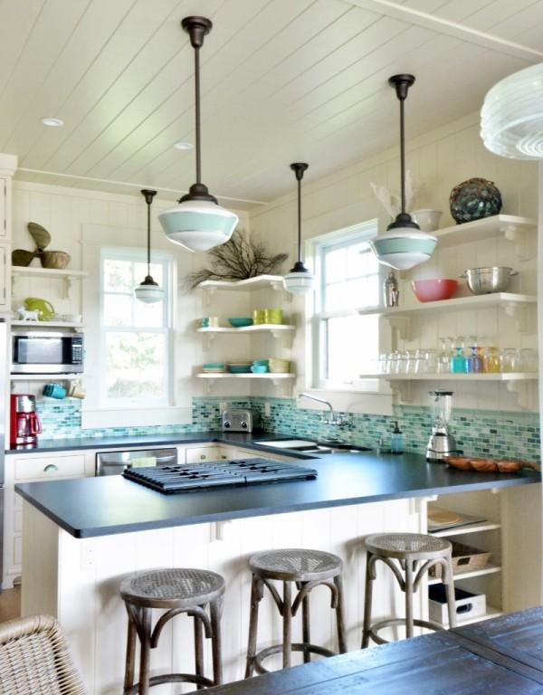 Schoolhouse pendants grace kitchen of idyllic hawaiian retreat blog - Schoolhouse lights kitchen ...
