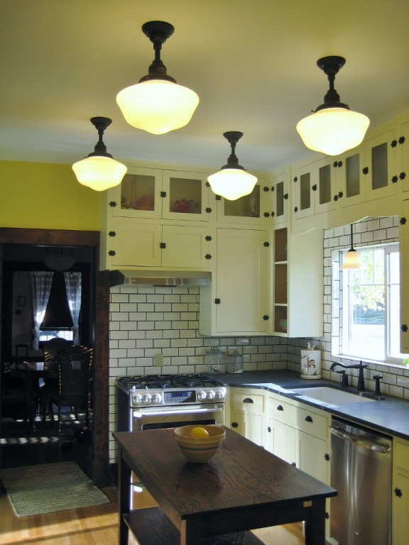 Schoolhouse Lights Icing On The Cake In Kitchen Remodel Blog
