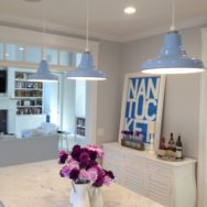 Featured Customer | Kitchen Lighting Pops with Glossy Blue Porcelain Pendants
