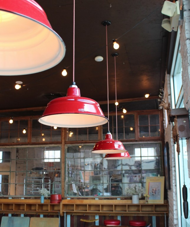 pendant lighting for restaurants. Grif And Cheryl Chose To Customize These Hand Crafted, American-made Pendant Lights With Generous 17\u2033 Shades, A Cherry Red Finish, Vintage Style, Lighting For Restaurants I