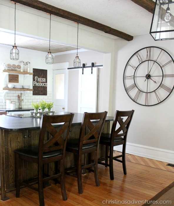 Industrial pendants for farmhouse kitchen makeover blog for Farmhouse style kitchen lighting