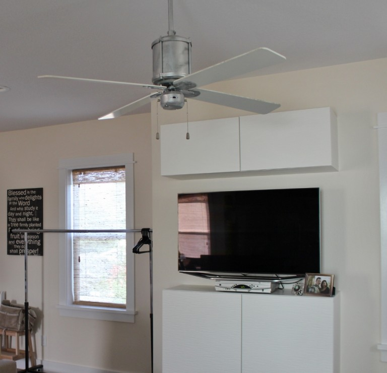To Keep Customers Cool Don Chose The Machine Age Galvanized Ceiling Fan For Space He Customized This Fixture With 52 White Blades Play Off