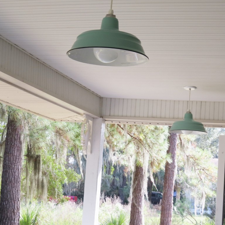 Amazing She Customized Her New Pair Of Porcelain Barn Lights With A 15u2033 Shade, The  Jadite Finish, ...