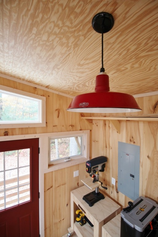 These ceiling pendants are suspended from standard black cords and a dimmer switch allows maximum light for work tasks but more subdued lighting for a ... & Porcelain Enamel Lighting Suits Arts u0026 Crafts Wood Shop   Blog ... azcodes.com