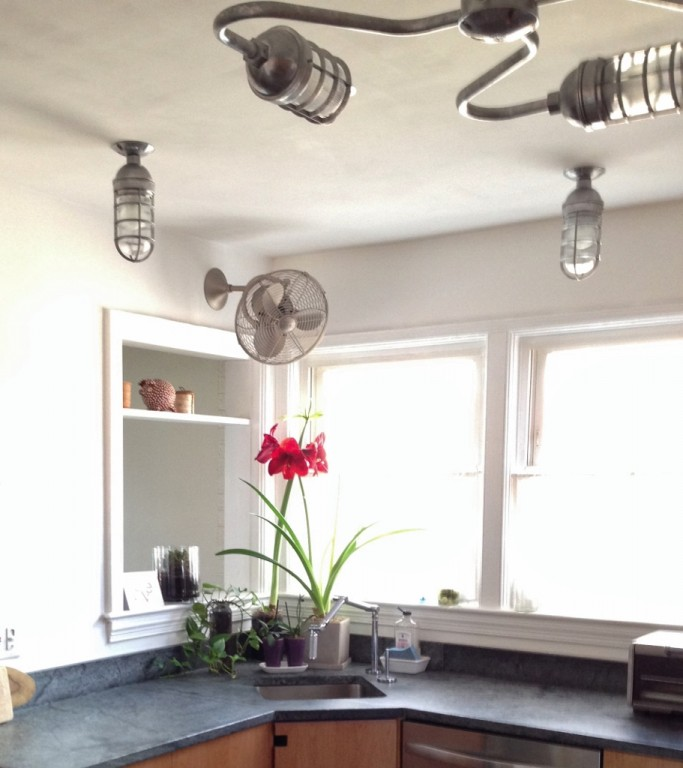 For The Sink Area Lisa Chose Complementary Atomic Guard Stem Mount Light Also In A Galvanized Finish This Pair Of Rugged Ceiling