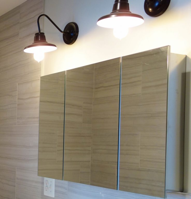 Modern Bath Softened by Vintage Look of Barn Wall Sconces | Blog ...