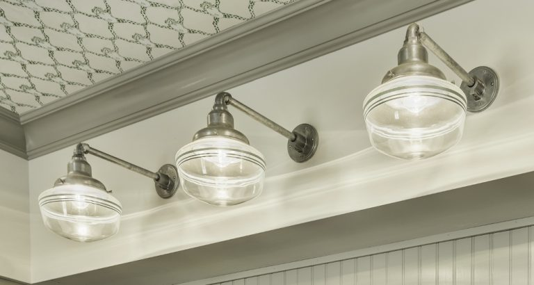 I Love The Repetition Of Lights Over Sink Amy Says It Provides Ample Light While Adding Color And Pattern With Jadite