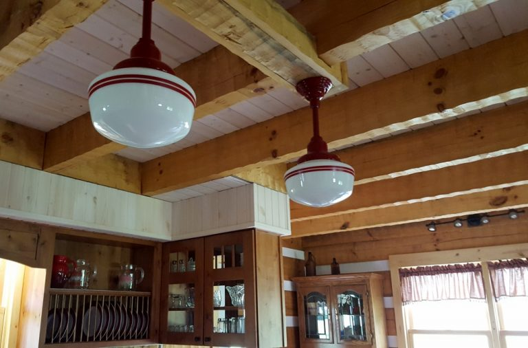 Featured customer schoolhouse lighting accents log home kitchen with vintage style blog - Schoolhouse lights kitchen ...