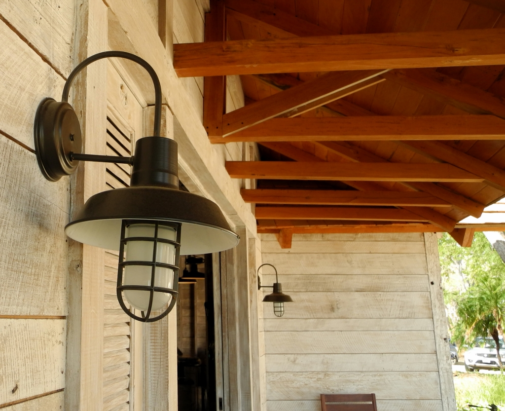 Rustic industrial lighting for central american beach for Rustic barn light fixtures