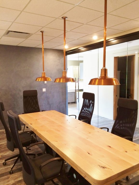 Copper Pendants Add Warmth To New Office Blog