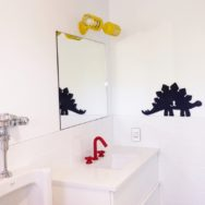 Featured Customer | Happy Yellow Wall Sconce Brightens Boys' Bath