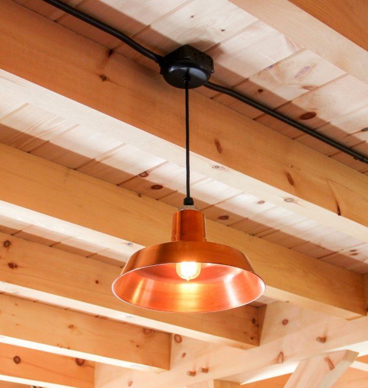 Interior Barn Lights: Copper Pendants For Post-and-Beam Carriage Barn
