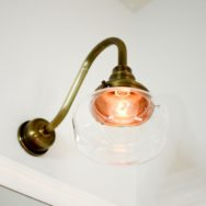 Featured Customer | Brass Schoolhouse Lights Add Glamorous Touch to Bath