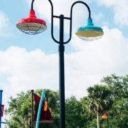 Colorful Post Mount Lights Add to Festive Vibe of Splash Park