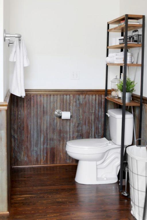 handcrafted toilet shelf