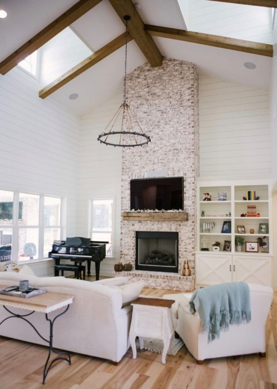 Farmhouse Chandelier Fills Expansive Living Room with Rustic ...