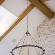 Featured Customer | Farmhouse Chandelier Fills Expansive Living Room with Rustic Style